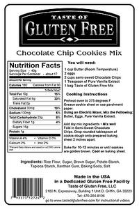 Taste Gluten Free Chocolate Chip Cookies Mix Nutrition Facts