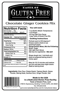 Taste Gluten Free Chocolate Ginger Cookies Mix Nutrition Facts