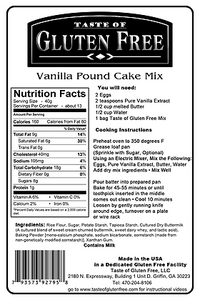 Taste Gluten Free Vanilla Pound Cake Mix Nutrition Facts