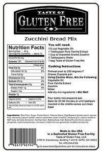 Taste Gluten Free Zucchini Bread Mix Nutrition Facts