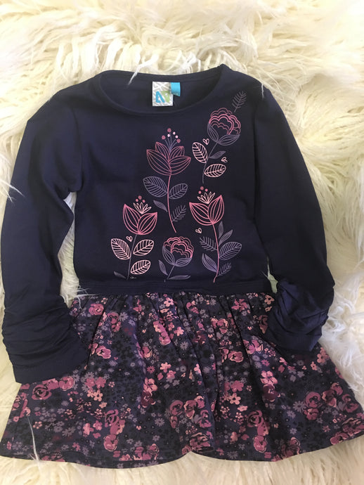 Navy Dress with Mauve Flowers
