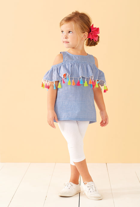 Chambray Cold Shoulder Tassel Top