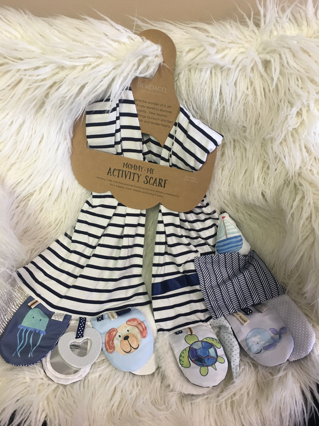 Mommy and Me Activity Scarf (Navy strip)