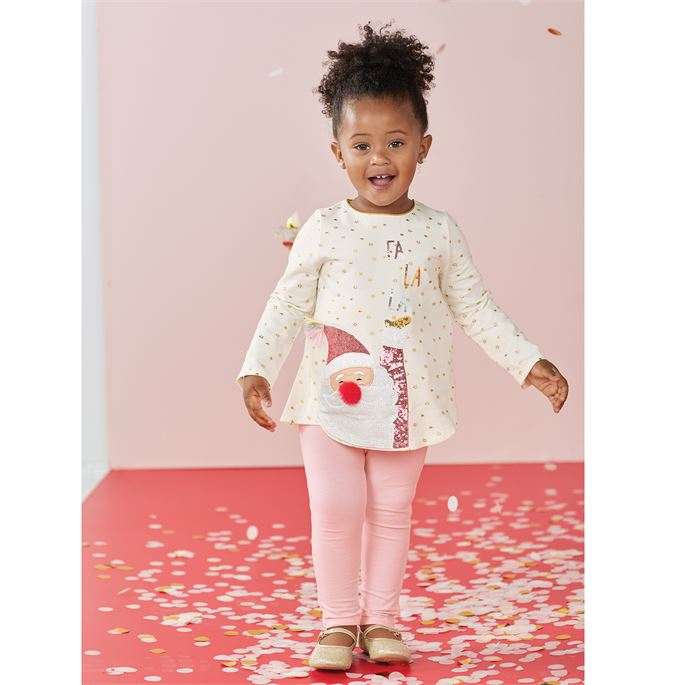 Pink Sequin Santa Tunic and Legging Set