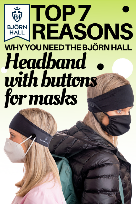 Black Björn Hall Headband with Buttons for Masks