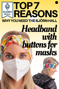 Floral Björn Hall Headband with Buttons for Masks