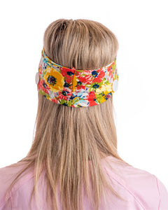 BJÖRN HALL Knotted Headband With Buttons for mask - Floral Yellow