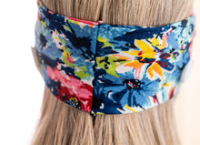 BJÖRN HALL Knotted Headband With Buttons for mask - Floral Blue