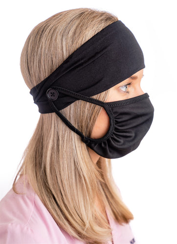 BJÖRN HALL Headband With Buttons & Mask - Black
