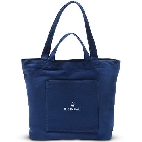 Björn Hall Large Cotton Nursing Tote Bag – Navy Blue Front View