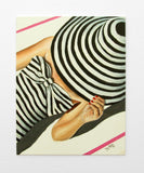 Vintage Summer art Print , Mid century modern , black white stripes female swim fashion