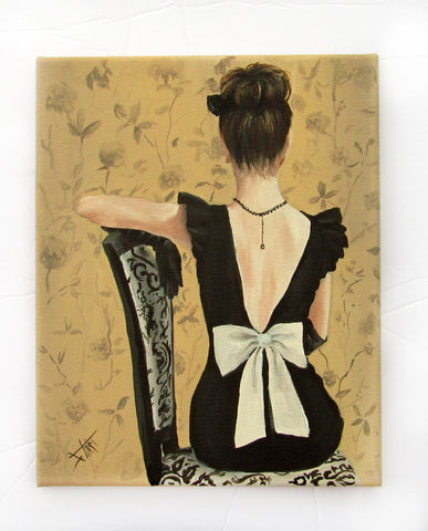 little black dress and white bow fashion art print 8x10""