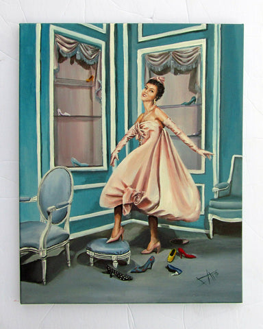 "Fashion Art print "" shoe la la"" 9x12"" vintage fashion inspired figurative art"
