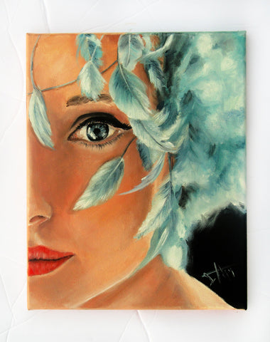 Audrey Hepburn art print , blue feather hat 10x8""