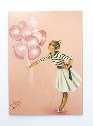 Bubble gum Pink balloons greeting card