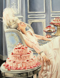 Marie Antoinette Print from original painting  , let them eat cake , rococo art