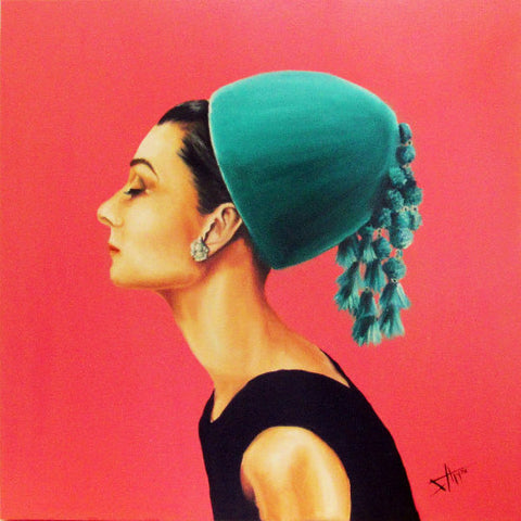 Audrey Hepburn in green hat art print 8x10""
