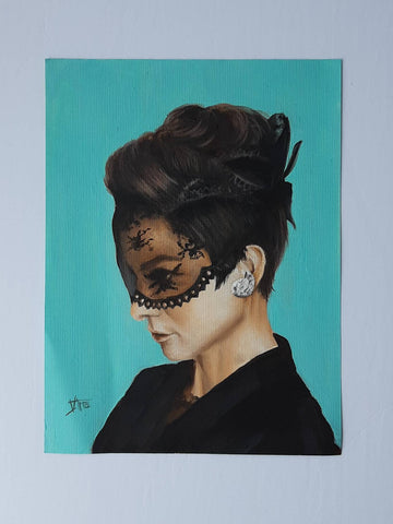 Audrey Hepburn in black lace mask print from original painting