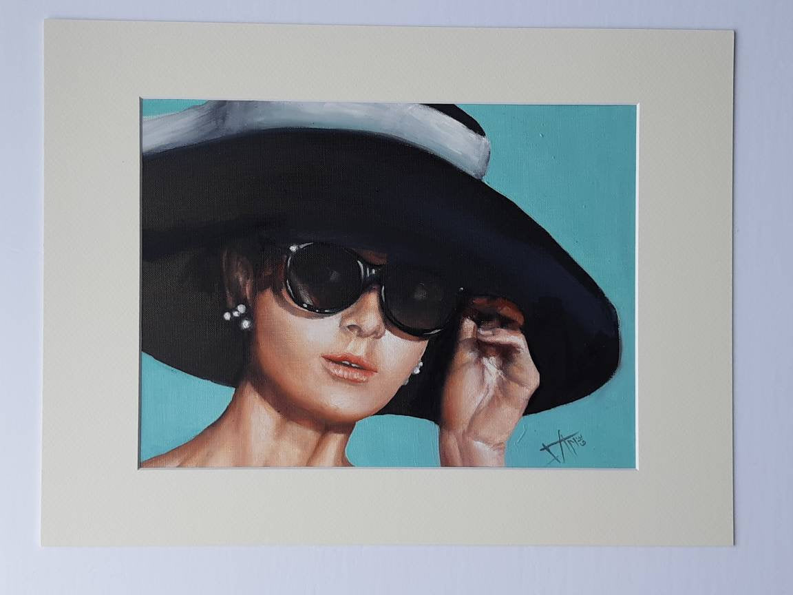 c086eedf94bf Audrey Hepburn inspired original oil painting on canvas paper , Breakfast  at tiffany's