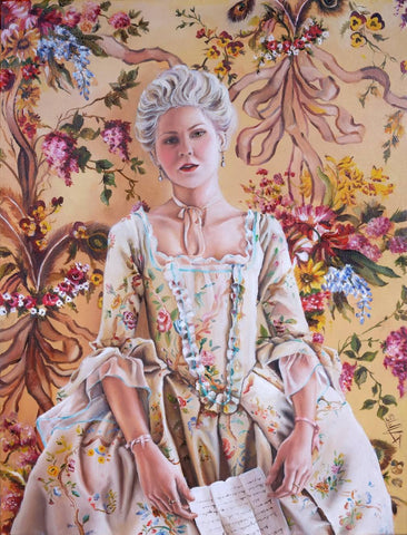 "Marie Antoinette Original oil painting on canvas ""the Letter """
