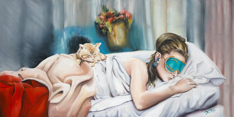 Audrey hepburn art print sleeping with blue mask with cat