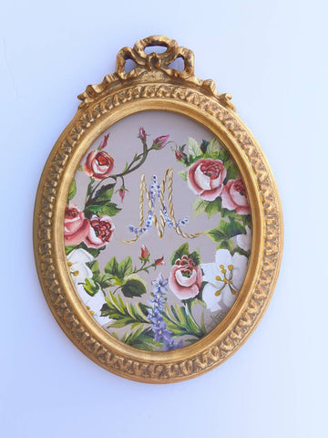 Marie Antoinette initials oval painting in vintage frame , custom order available