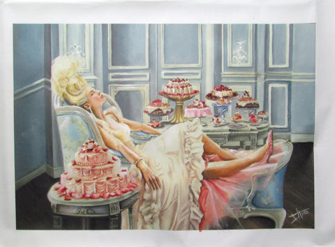 "Canvas print of Marie Antoinette 19.5x13"" (50x34 cm), let them eat cake , rococo art"