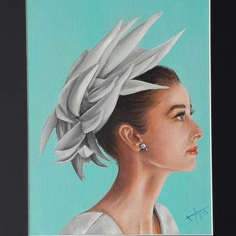 Audrey Hepburn in white hat original painting