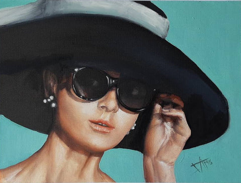 "Audrey Hepburn inspired original oil painting on canvas paper "" Breakfast at Tiffany's"" scene."