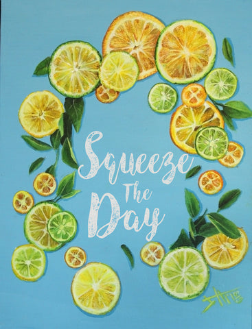 Squeeze the day , Art print ,Lemon wreath