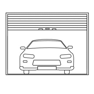 Image: linear drawing showing a front of a car in a garage