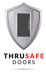 Silver Shield with door image and black and red text below: THRUSAFE DOORS