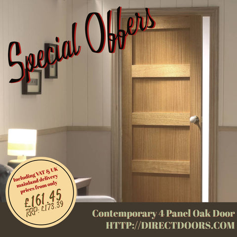 Contemporary 4 Panel Oak Door