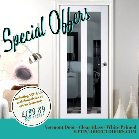 Vermont Door Clear Glass White Primed