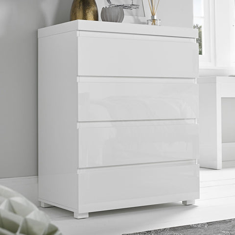 puro white high gloss 4 chest of drawers