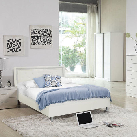 crystalle white faux leather bed frame with silver diamante