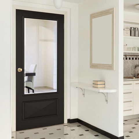 Bevelled glass black primed doors with unique mouldings
