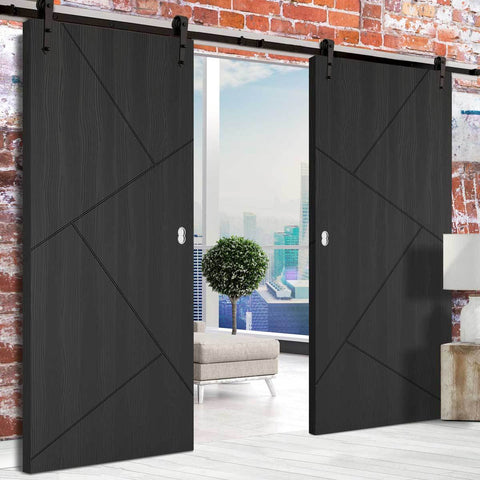 modern black sliding door