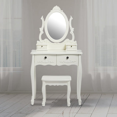 traditional Antoinette dressing table set in cream