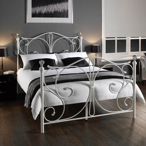 White Metal Bed Frame Traditional Florence