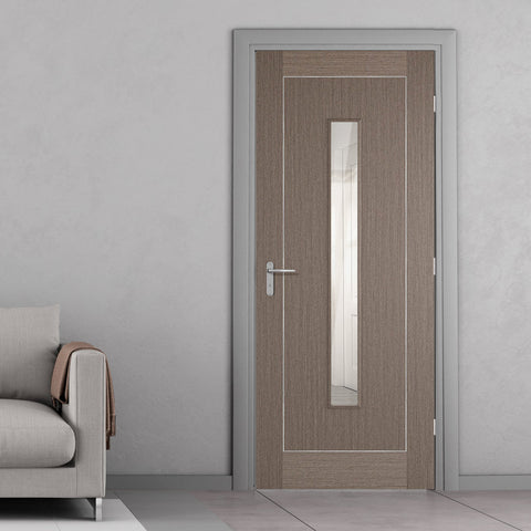 delicate-chocolate-grey-door-with-single-glass