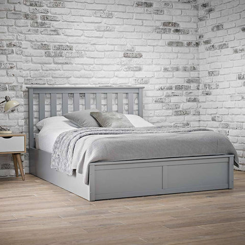 grey oxford ottoman wooden bed frame