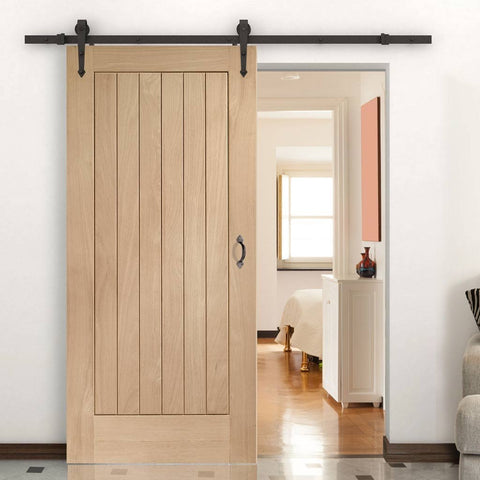 traditional oak sliding barn door