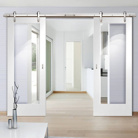 contemporary white sliding barn door