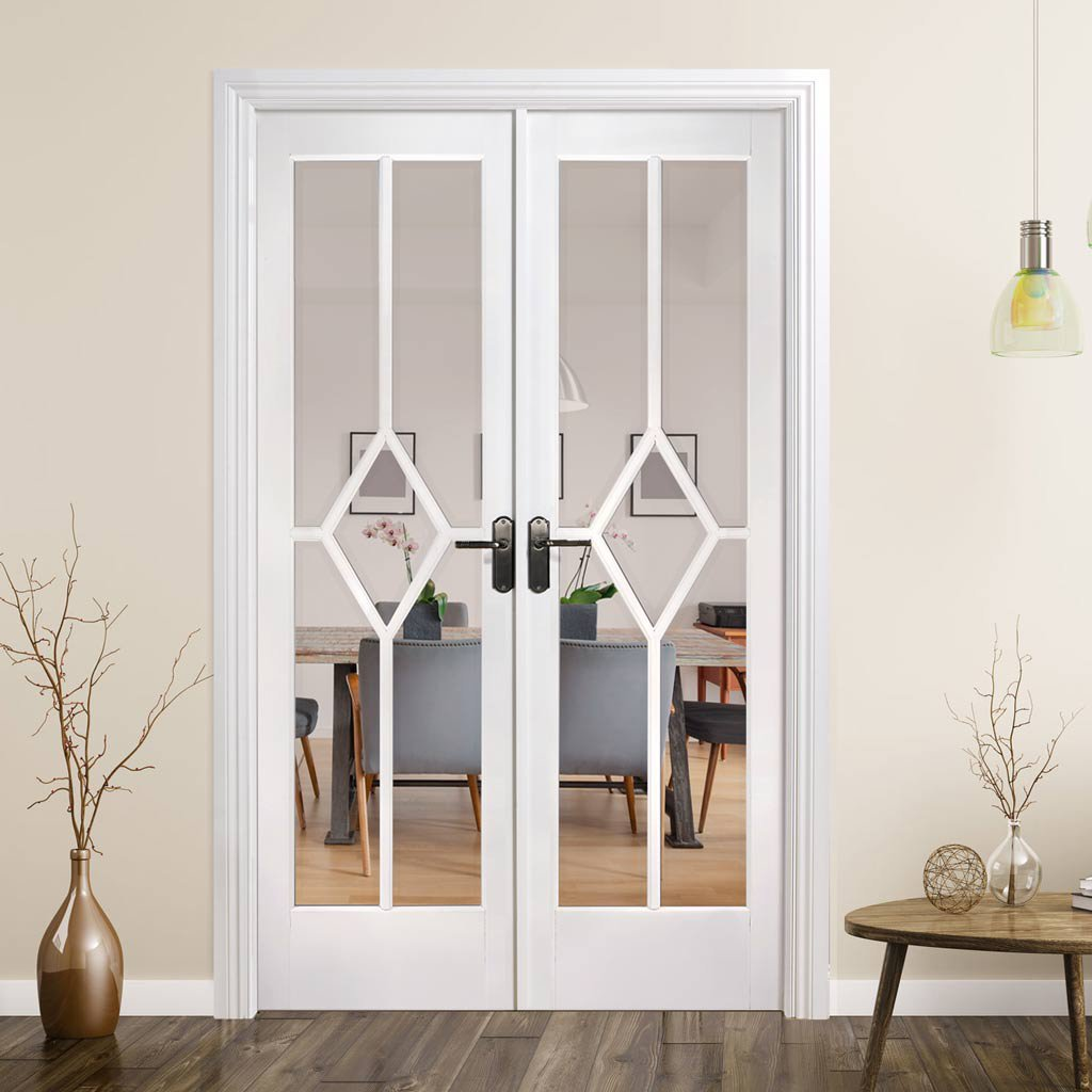 W4 Reims Room Divider Door & Frame Kit - Bevelled Clear Glass - White Primed - 2031x1246mm Wide