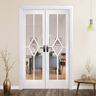 Image: W4 Reims Room Divider Door & Frame Kit - Bevelled Clear Glass - White Primed - 2031x1246mm Wide