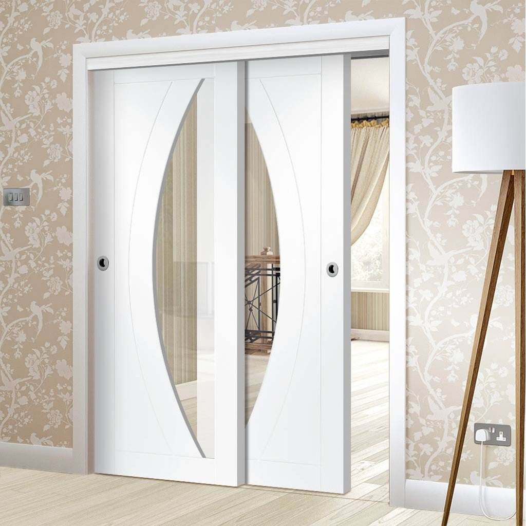 Two Sliding Doors and Frame Kit - Salerno Door - Clear Glass - White Primed