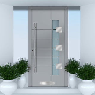 Image: External Spitfire Aluminium S-200 Door - 1581 CNC Grooves & Stainless Steel - 7 Colour Options