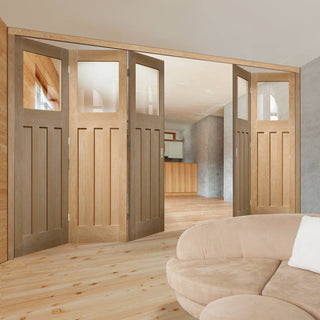 Image: Bespoke Thrufold DX Oak 1930's Style Glazed Folding 3+2 Door