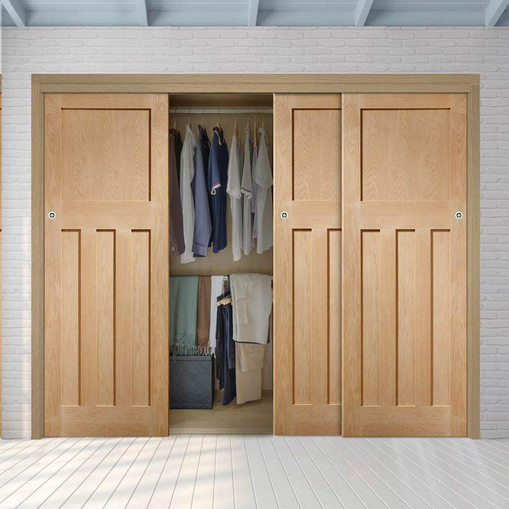 Three Sliding Wardrobe Doors & Frame Kit - DX Oak Panel Door - 1930's Style